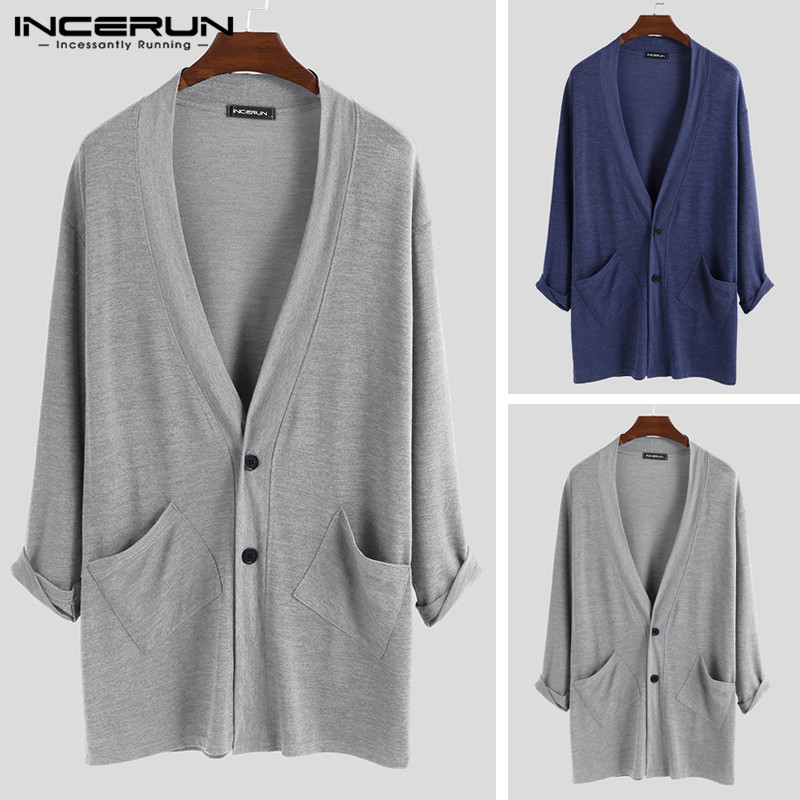 INCERUN Men Cardigan Long Sleeve Button Up Autumn Pockets Outerwear Loose Streetwear Solid Color Men Sweater Coats Cardigan 2019