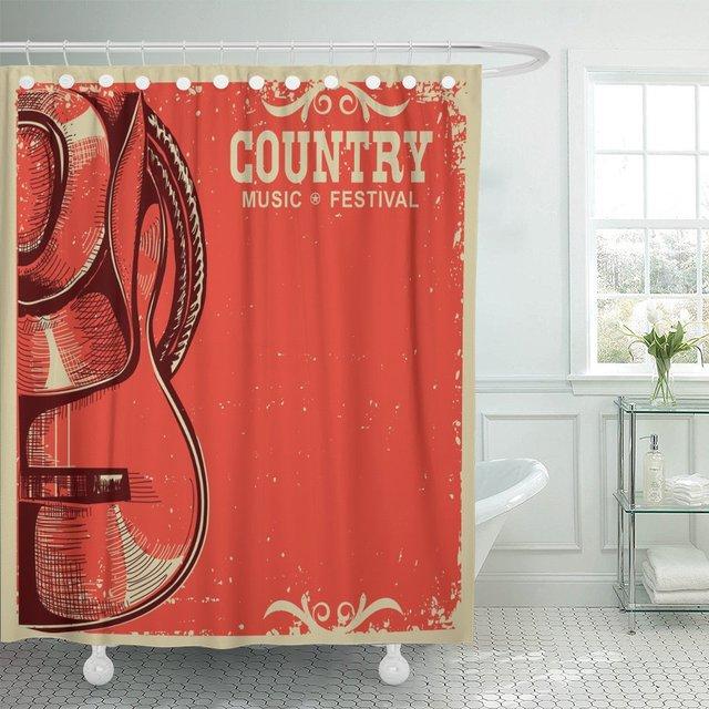 Country Music-chapeau de Cowboy et guitare   Rideau de douche en tissu Polyester imperméable, ensemble de 60x72 pouces avec crochets, American Country Music