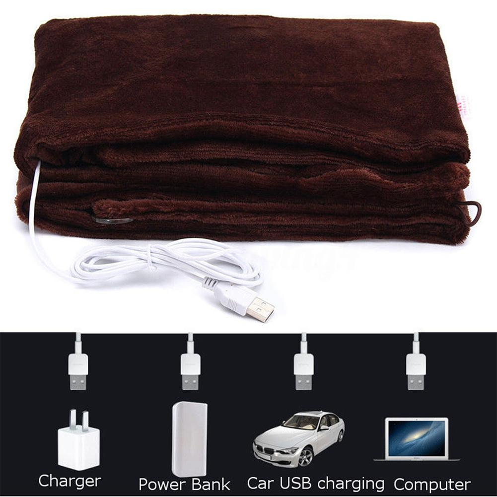Office Car Electric Warming Heating Blanket Pad Shoulder Neck Mobile Heating Shawl USB Soft 5V 4W Winter Heated Warm Blanket