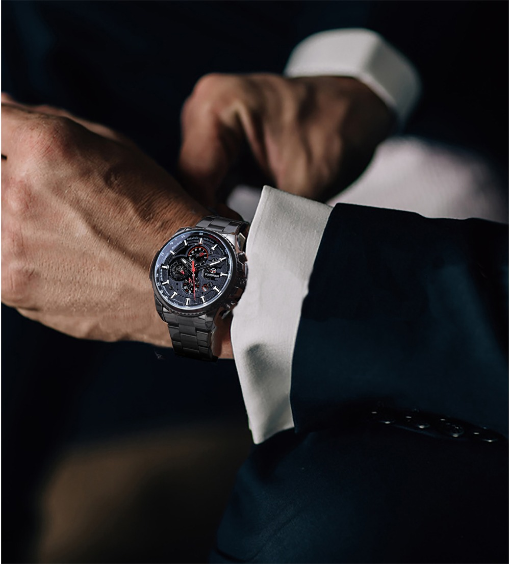 H35f345a5f6af4e34968d3c145d744518D Forsining 2019 Classic Black Clock Steampunk Series Complete Calendar Men's Sport Mechanical Automatic Watches Top Brand Luxury