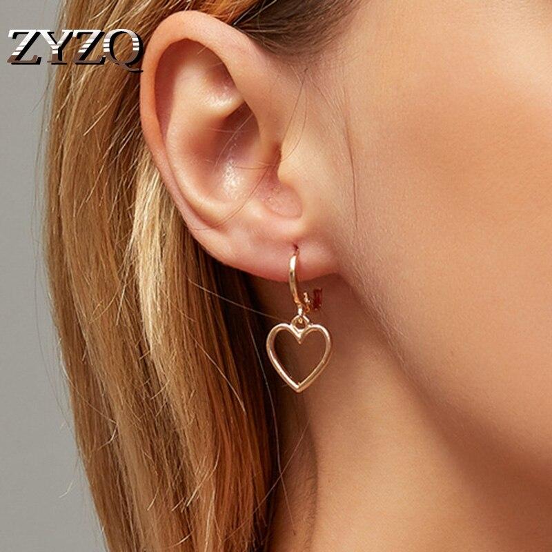ZYZQ Simple Design Classic Hollow Heart Drop Earrings For Women New Brand Fashion Ear Cuff Piercing Dangle Earring Gifts