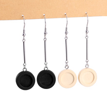 10pcs/lot Long Blank Earring Wood Cabochon Settings Base Stainless Steel Hooks Clasp for DIY Jewelry Making Supplies