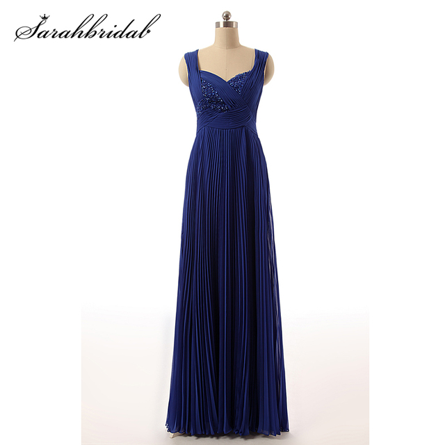 Cheap 2020 Clearance Pleated Chiffon Prom Dresses Long A Line Beading Royal Blue Evening Gown Vestidos De Fiesta In Stock TZ013