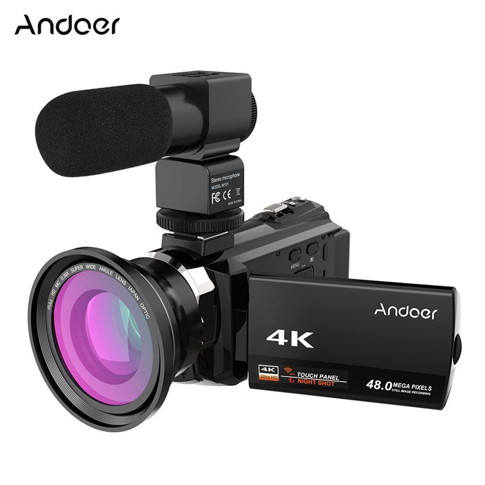 Andoer 4K 1080P 48MP WiFi Digital Video Camera Camcorder Recorder W/0.39X Wide Angle Macro Lens Microphone Novatek 96660 Chip