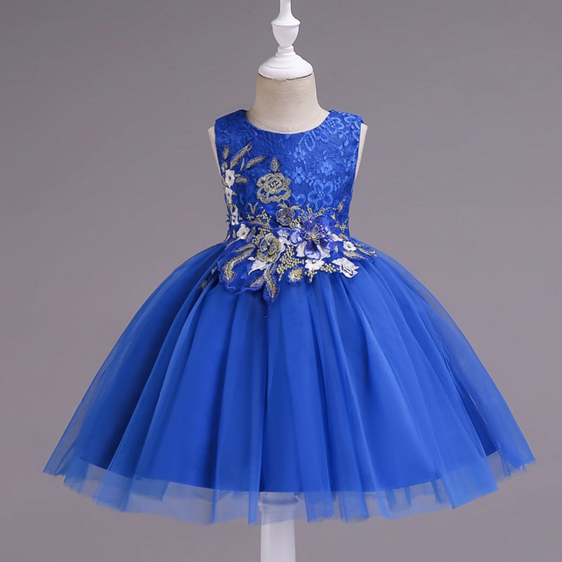 Selling New Children's Wedding Veil Dress Princess Dress Girls Catwalk Show Birthday Floral Embroidered Tutu