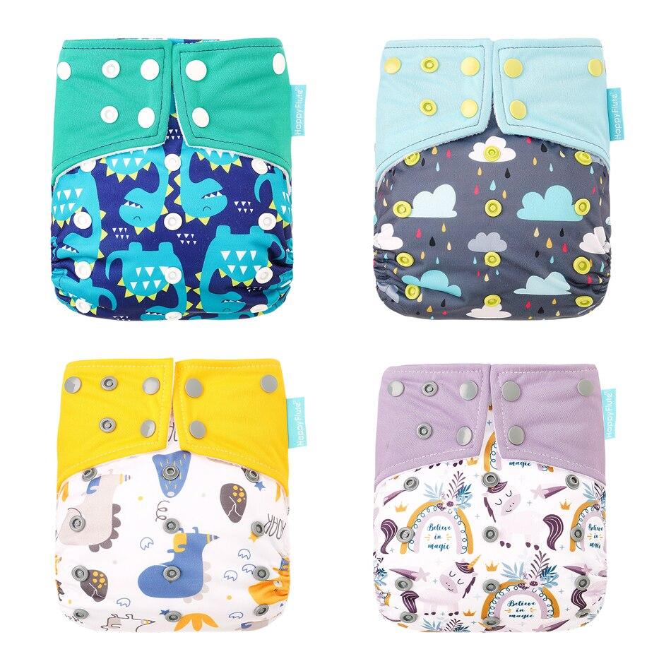 HappyFlute 1 шт. Многоразовые моющиеся детские подгузники ночное Применение AIO/AI2 бамбук хлопковый подгузник