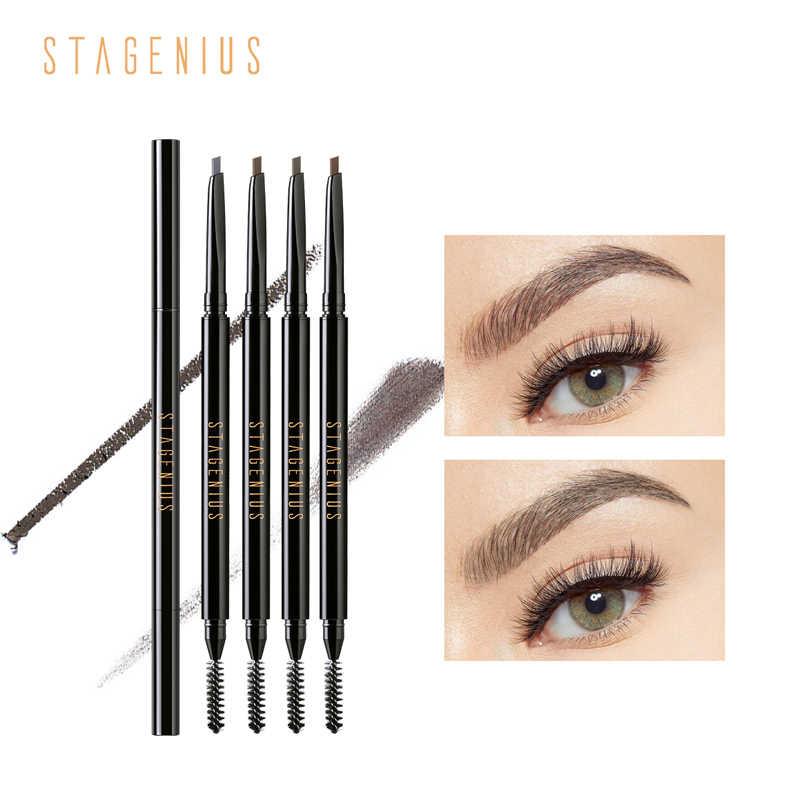 STAGENIUS ołówek do brwi wodoodporny naturalny długotrwały Superfine mały trójkąt gładki odcień brwi tatuaż makijaż oczu