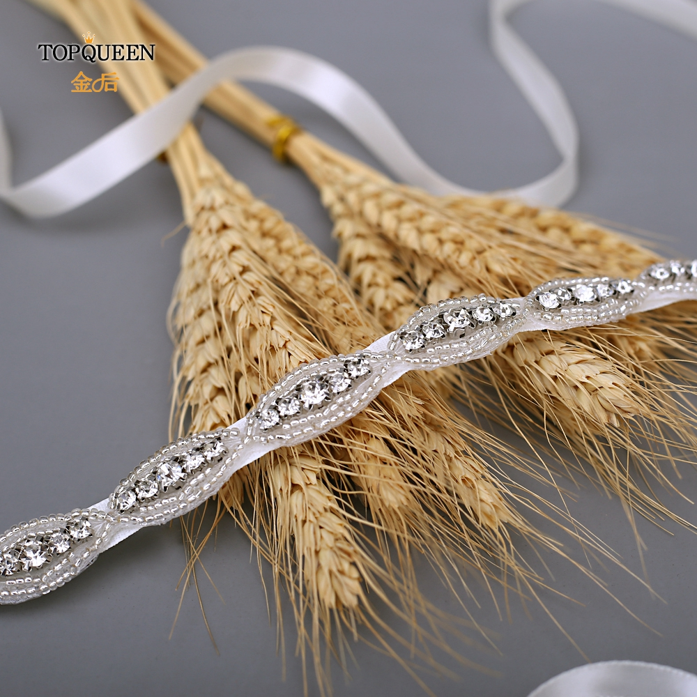 TOPQUEEN Wedding Belts For Rhinestones Accented Wedding Sash Class A Drill Bridal Sash Stone Belts For Woman Beaded Belt S102