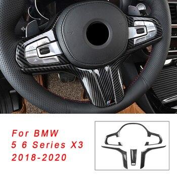 ABS Car Steering Wheel Sticker Frame For BMW 6 5 Series G30 G38 X3 G01 GT 2018 2019 2020 M Sport Carbon Fiber Texture Cover Trim