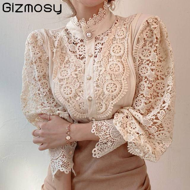 Gizmosy Chic Button Hollow Out Flower Lace Patchwork Shirt Stand Collar All-match Femme Blusas Petal Sleeve Women Blouses 1