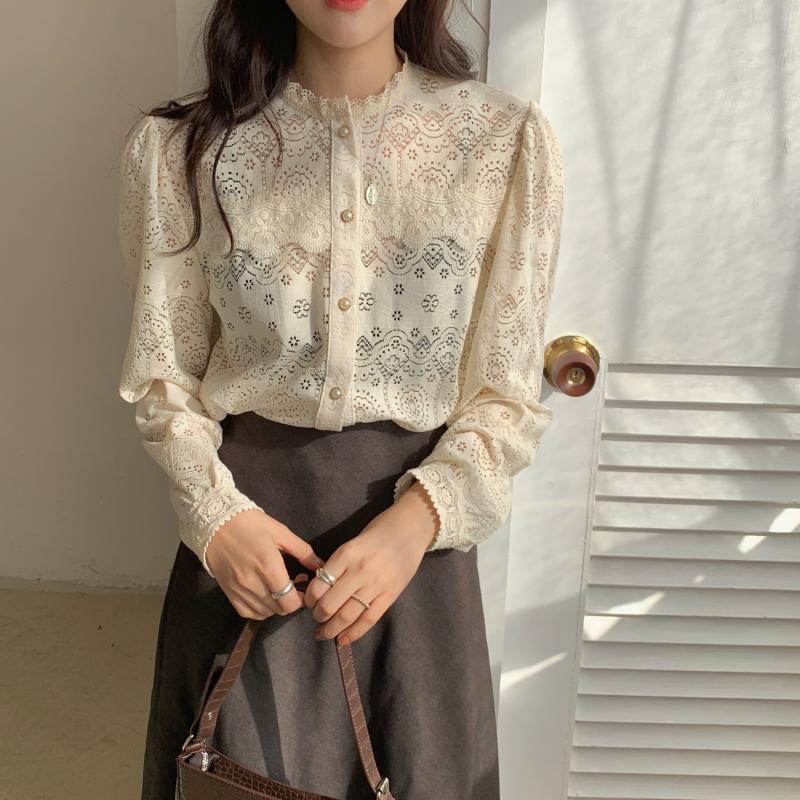 H35f3f119845f403aa26eb062e01f6a16a - Spring / Autumn O-Neck Long Sleeves Cotton Hollow Out Lace Blouse