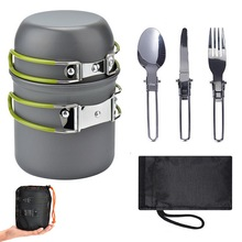 Portable Outdoor Camping Cookware Set Tableware Cooking Travel Cutlery Utensils Pot Pan Hiking Picnic Tools Green Handle Pot outdoor picnic stainless steel hand bill of lading handle bento pot hiking pot camping barbecue cooking cookware picnic cookers
