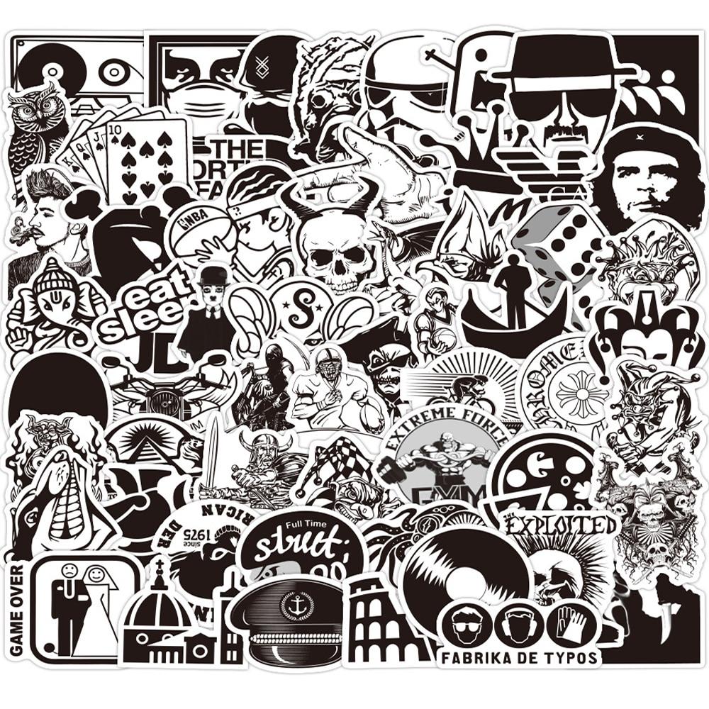 Pegatinas geniales en blanco y negro para portátil, pegatinas para equipaje de guitarra, teléfono, bicicleta, resistente al agua, pegatina de Graffiti, juguetes clásicos para niños, 10/30/60 Uds.