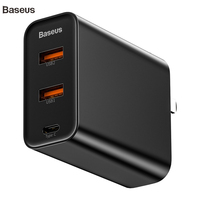 Baseus Usb Charger 60W USB Type C Quick Charger Dual Band Usb slot and US Adapter Phone Charging Travel Wall Charger With 1M