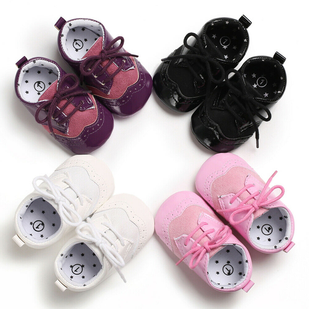 Newborn Baby Girl Boy Anti-slip Leather Christening Pram Shoes Soft Sole Sneaker Autumn Winer Baby Girl Boy Casual Shoes