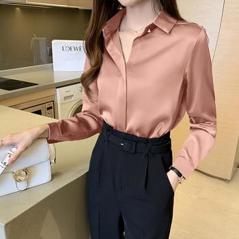 Silk Shirts Women White Shirt Women Long Sleeve Shirts Blouse Office Lady Satin Silk Blouse Tops Plus Size Woman Basic Shirt Top 3