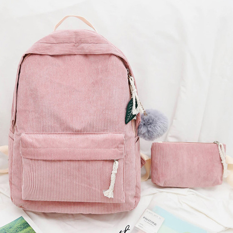 Fashion Soft Fabric School Bag For Teenagers Durable Corduroy Student's Schoolbag Backpack Striped Women School Backpack Satchel