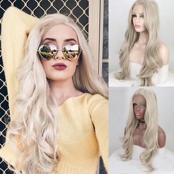 FACHOUFEE Synthetic Hair Lace Front Wigs with Natural Hairline Ash Blonde Color Hair Heat Resistant Fiber Hair Glueless Lace Wig 1