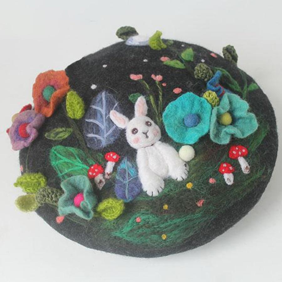Mysterious Jungle Wool Beret Cap Ladies Hand Embroidered Korean Winter Warm Berets Hat Women Cute Rabbit Christmas New Year Hats - 3