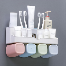Toothbrush Holder with Cups Automatic Toothpaste Squeezer Dispenser Wall Mount Bathroom Storage Rack Bathroom Accessories Set wall mount dust proof toothbrush holder dispenser hair drier rack automatic toothpaste squeezer dispenser bathroom accessories