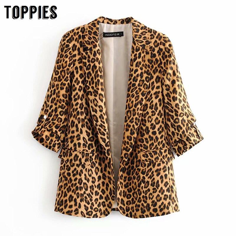 Leopard Balzer Jacket Women Animal Grain Printing Leisure Suit Jackert 2020 Spring Cardigan Coat