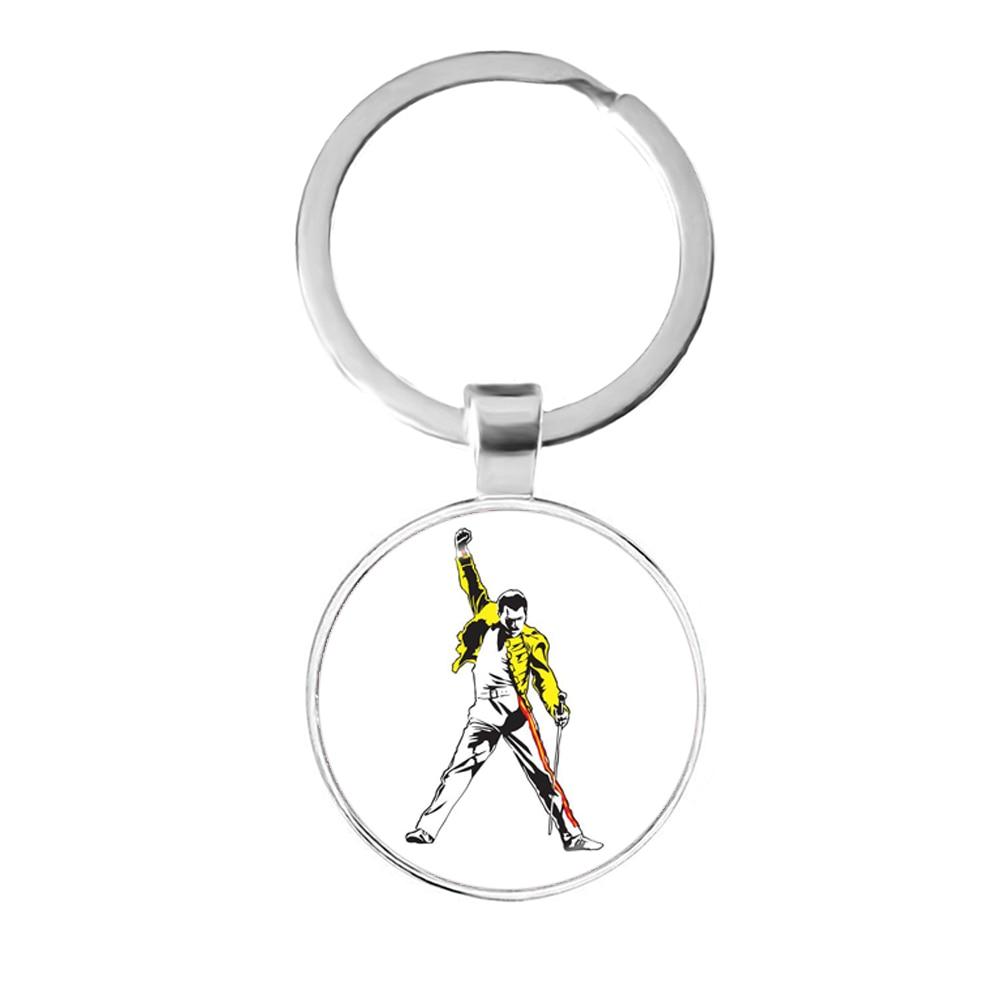 Freddie Mercury  25mm Glass Cabochon Keychains Cute Jewelry Accessories For Men Women Key Rings Key Holder Gift