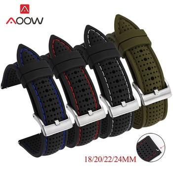 Силиконовый спортивный ремешок для мужчин, сменный водонепроницаемый браслет для Samsung Watch 3 S3 Huawei Watch GT2 46 мм Amazfit GTR, 18 мм 20 мм 22 мм 24 мм Ремешки для часов      АлиЭкспресс