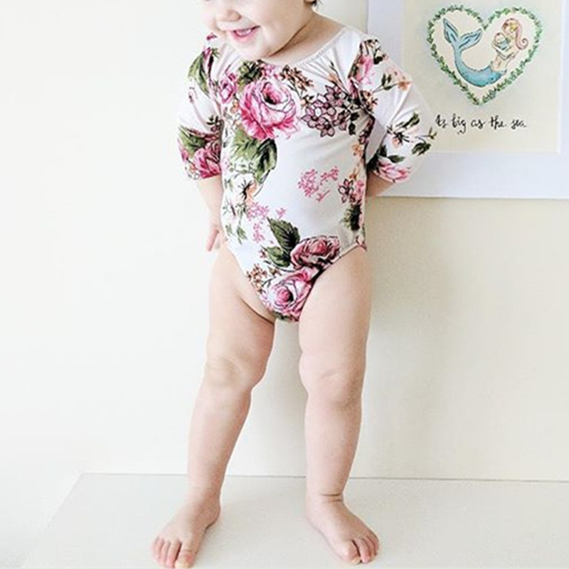 Floral Newborn Onesie One Piece Long Sleeve Bodysuit Baby Girl Sunsuit Infant Toddler Backless Baby Leotard Baby Girls Clothes
