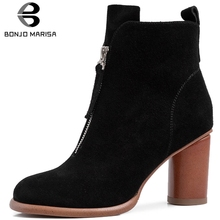 BONJOMARISA Brand New Genuine Leather Suede Booties Ladies High Heels Shoes Woman Party Ol Ankle Boots Women Autumn Winter fedonas new women basic ankle boots autumn winter high heels martin shoes woman brand elegant genuine leather office pumps