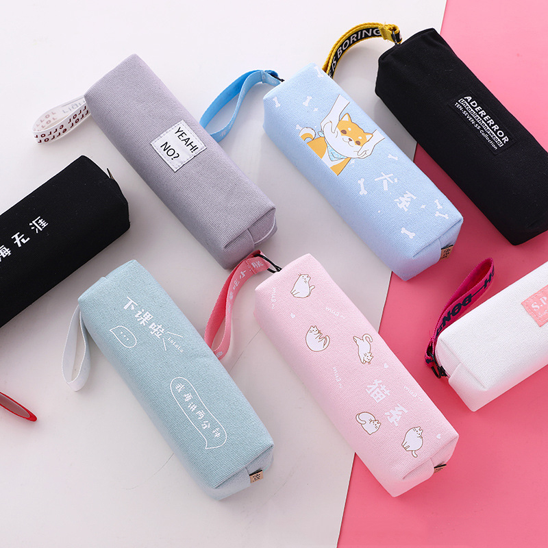 Canvas Pencil Case Simple Design Style Zipper Pencil Bags Pen Holders School Supplies Stationery Pencil Box For Boys Or Girls