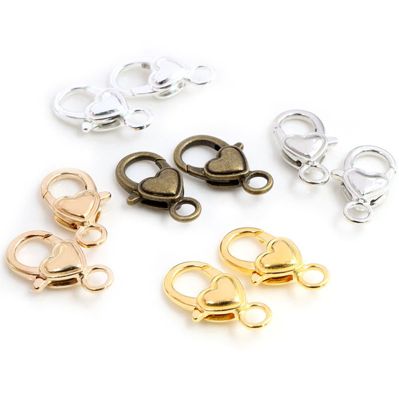 10pcs/lot 26x19mm Gold Silver Plated Rhodium Heart Jewelry Findings,Lobster Clasp Hooks For Necklace&Bracelet Chain DIY Making