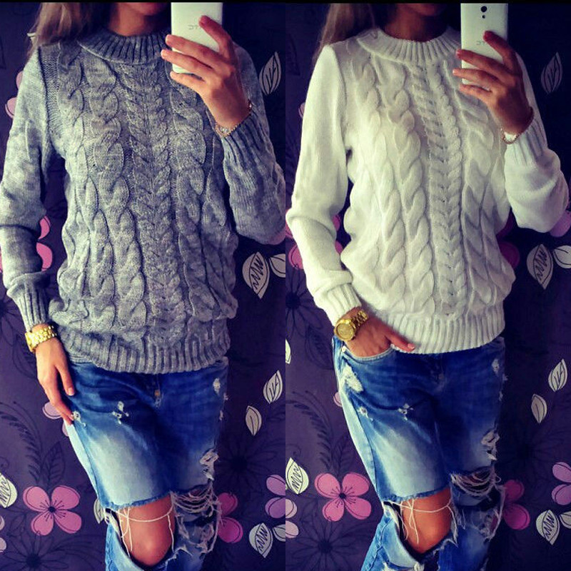 Hot Sale Spring Autumn Pullover Long Sleeve Loose Women Sweaters Casual Outwear Elegant Knitted Sweater