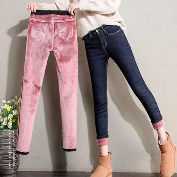 Zimowa ciepła obcisła ołówkowa jeansy dla kobiet grube aksamitne ciepłe legginsy jeansy ze streczem polarowe spodnie dżinsowe spodnie kobiece dżinsy tanie i dobre opinie Bella Philosophy Pełnej długości COTTON Poliester vintage Stripe Ołówek spodnie skinny light WOMEN Zipper fly