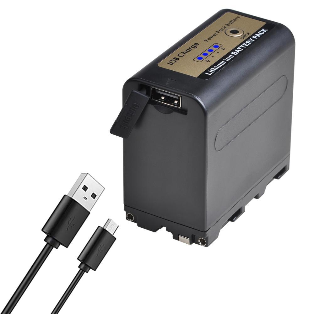 USB Output 7800mAh NP-F970 NP NP-F960 F960 F970  Battery With LED Power Indicator For Sony F960 F550 F570 F750 F770 MC1500C 190P