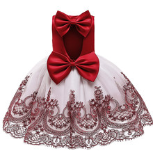 Baby Girl Dress 1 Year Birthday Party Backless Tutu Princess Dress Kids Dresses For Girls Wedding Gown Children Clothing vestido(China)