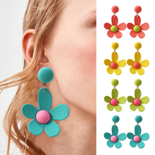 HOCOLE Korean Flower Earrings For Women Cute Elegant Geometric Drop Dangle Earring Fashion Jewelry Party Girl Gift 2019 Brincos