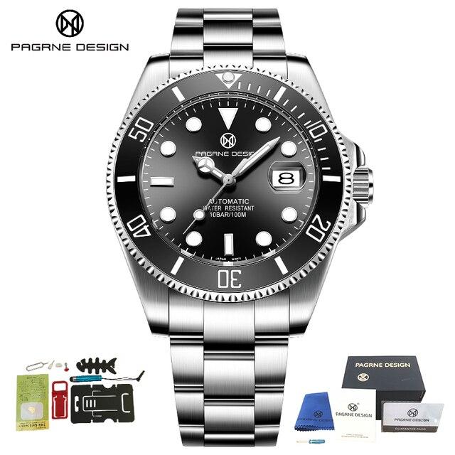 2020 PAGRNE DESIGN Top Brand Luxury Kelpie Series Watch Men Automatic Mechanical Wristwatch Stainless Steel Relogio Masculino 8