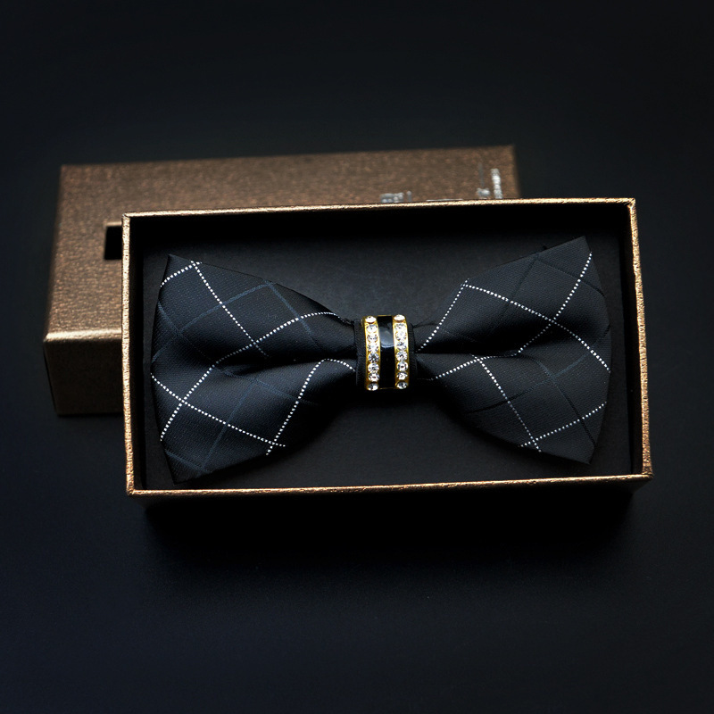 Men Formal Wear Diamond Set Groom Bowtie Marriage Ceremony Best Man Metal Handmade Korean-style Bow New Products Fashion Product