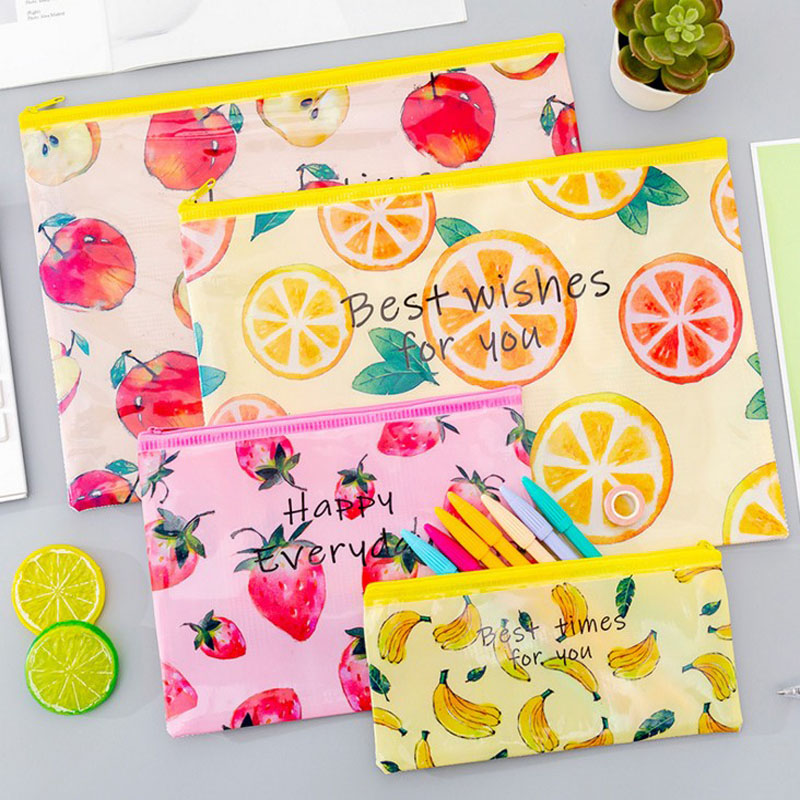 1 Pcs Hot Sale Waterproof Paper File Folder Kawaii Fruit Lemon Strawberry Pen Case For Girls Office Supplies Document Bag