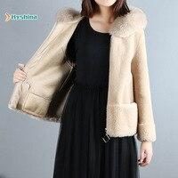 Womens Real Fur Coat Sheep Shearling Coat Female Short Paragraph Fox Fur Collar Profile Granule Wool Fur Coat Hooded Jacket