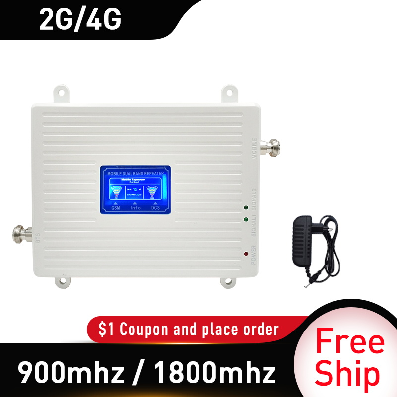 900 1800mhz Mobile Amplifier Dual Band Repeater GSM 4G Repeater GSM DCS 2G 4G Repeater LTE Cellular Signal Booster Gain 70db