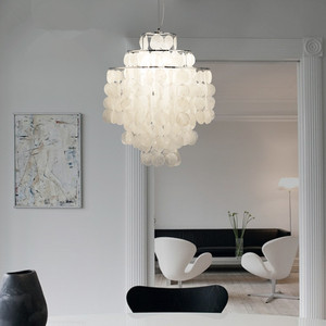 Image 3 - DIY מודרני לבן טבעי צדף תליון מנורת מתקן E27 אורות Dia 26/30/45cm פגז מנורות עבור חיים בבית חדר שינה חדר