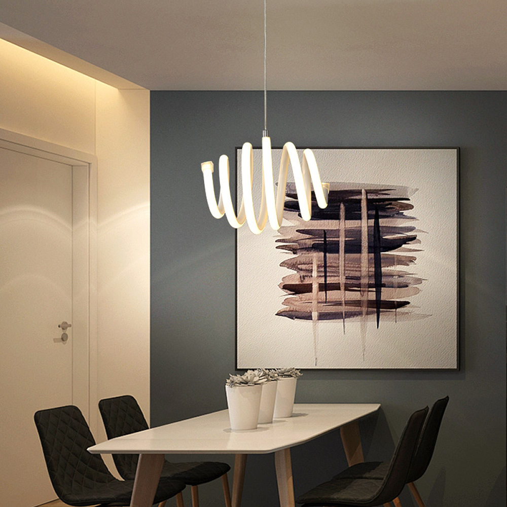 Apextech Elegant LED Pendant Light Minimalist Helical Hanging Lamp Droplights Dining Room Coffee Bar Restaurant Light in Pendant Lights from Lights Lighting