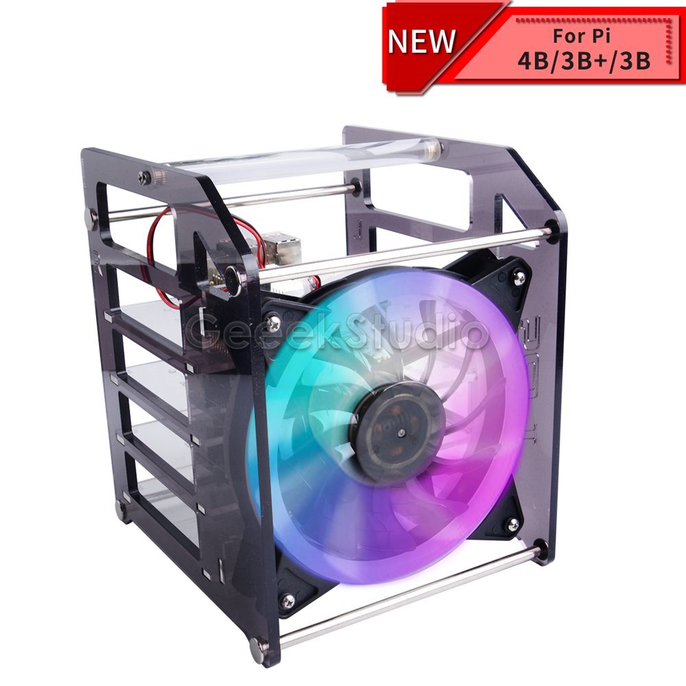 Rack Tower 4 Layer Acrylic Cluster Case Super Large Cooling Fan LED RGB Light For Raspberry Pi 4 B / 3 B + / 3 B / Jetson Nano
