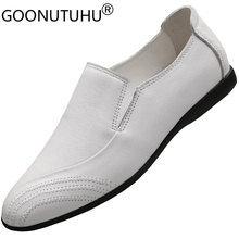 Fashion men's shoes casual genuine leather flats loafers male classics white brown black slip on shoe man driving shoes for men цена 2017