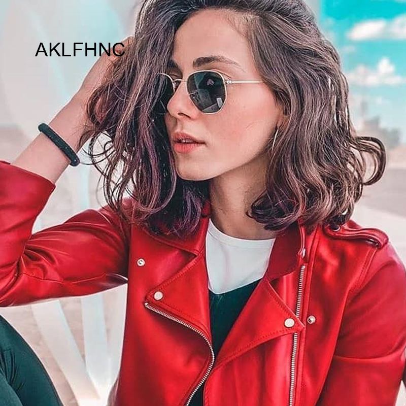 Polygonal Sunglasses Women Glasses Lady Luxury Retro Metal Sun Glasses Female Vintage Mirror Oculos De Sol Feminino UV400