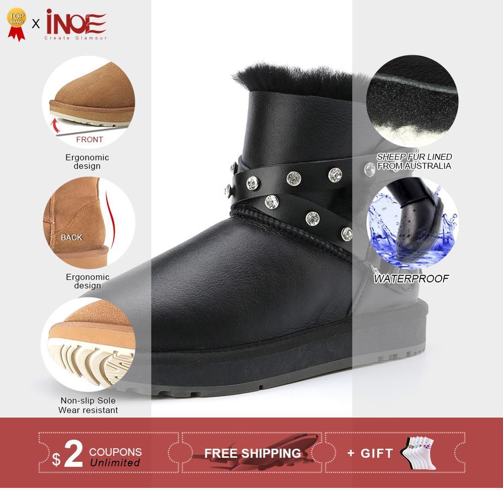 INOE Mode Schaffell Leder Frauen Knöchel Winter Stiefel für Frauen Natürliche Pelz Gefüttert Kurzen Schnee Stiefel Schuhe Wasserdicht-in Knöchel-Boots aus Schuhe bei  Gruppe 2