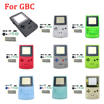 New Plastic Game Shell Housing Case Cover For Nintendo Gameboy Color Game Console For GBC Shell With Buttons Kits Sticker Label