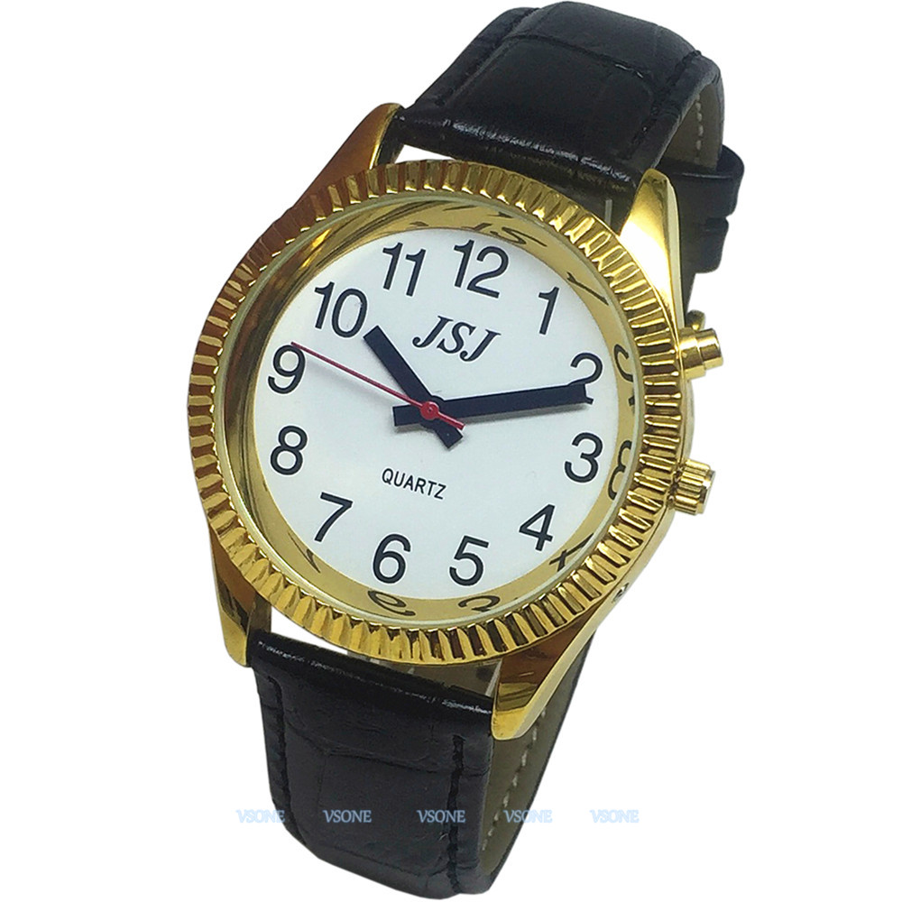 French Talking Watch With Alarm Function, Talking Date And Time, White Dial, Black Leather Band, Golden Case TAF-207