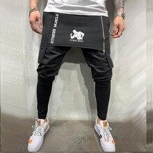 Trousers Men Harem-Pants Streetwear Fitness Skinny Zipper Muscle Hip-Hop New Double-Layer